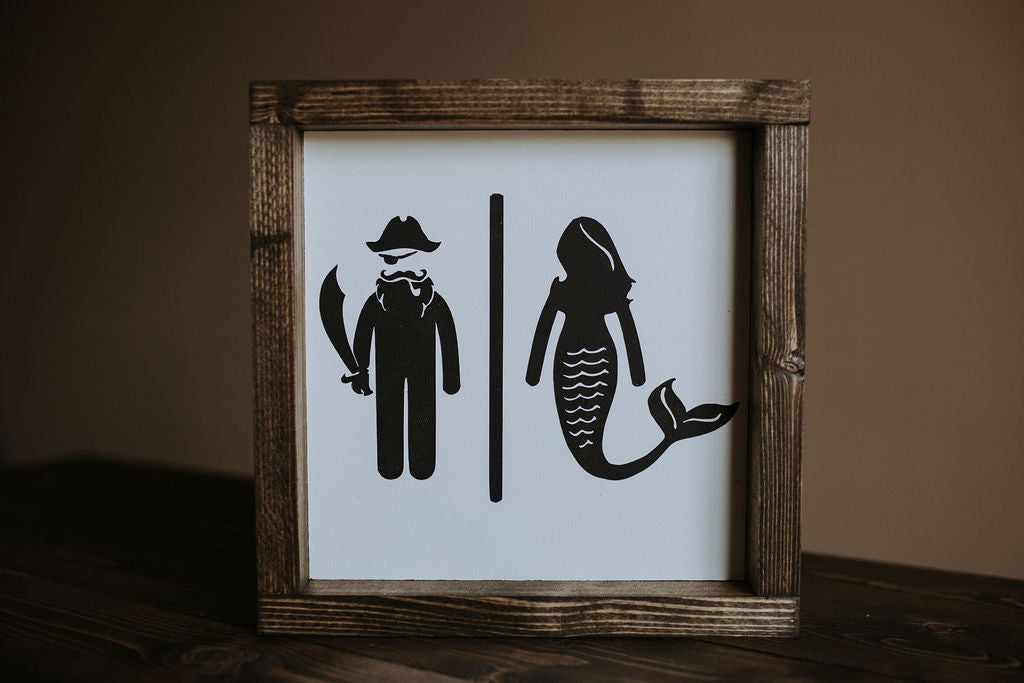 Restroom (Pirate & Mermaid) - Wood Sign