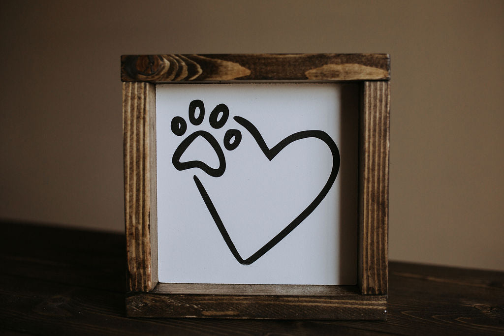 Heart With Paw Print - Wood Sign