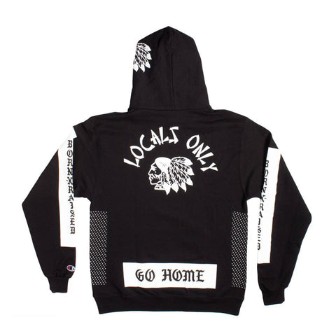 Born X Raised - Locals Only Pullover Hoodie - Black - THIS IS ALLEY