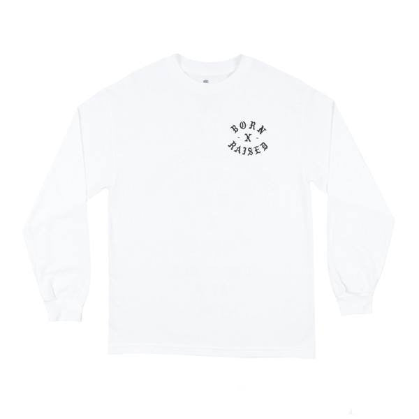 Born X Raised - O.B.A.T. Long Sleeve Tee - White - THIS IS ALLEY