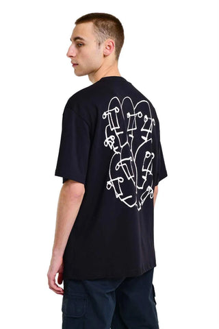 Faces Back Print Oversized Tee - Black