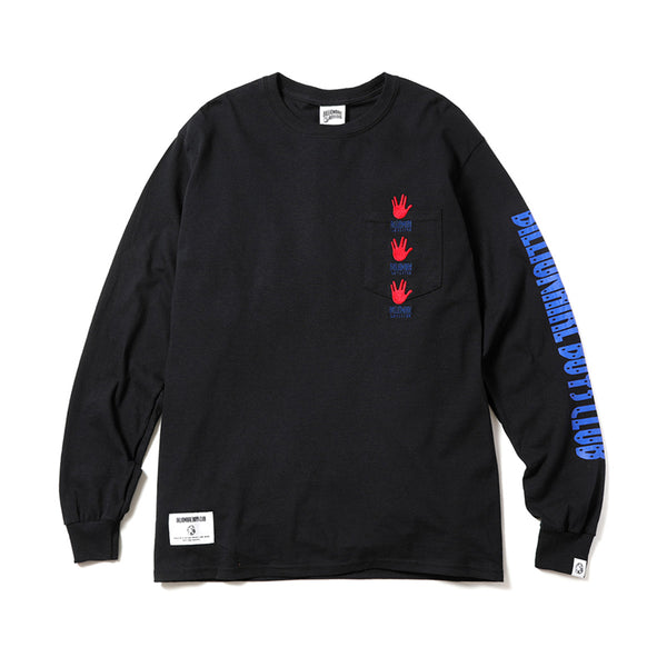 BILLIONAIRE BOYS CLUB - HAND SIGN L/S POCKET T-SHIRT - BLACK