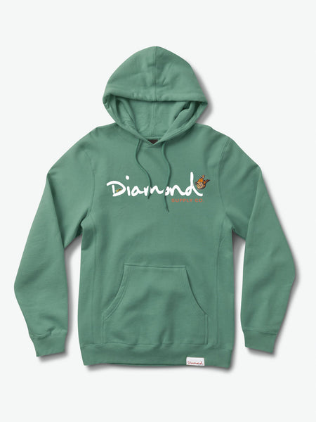 Diamond Supply Co - Paradise OG Script Pigment Dyed Hoodie - Alpine Green
