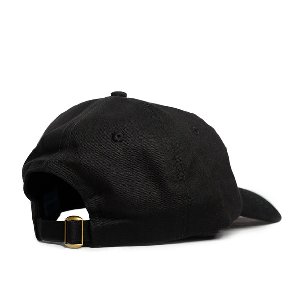 Text Logo 6 Panel Black Cap - extrovertedintrovert
