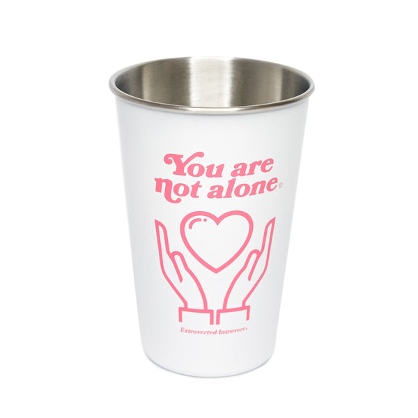 16oz Stainless Steel White Pint - extrovertedintrovert