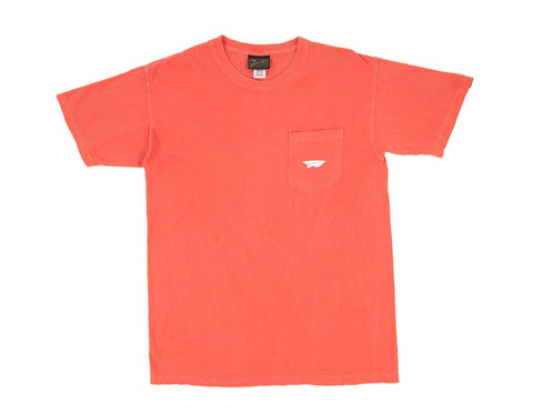 Benny Gold - Paper Plane Garment Dyed Pocket Tee - Coral