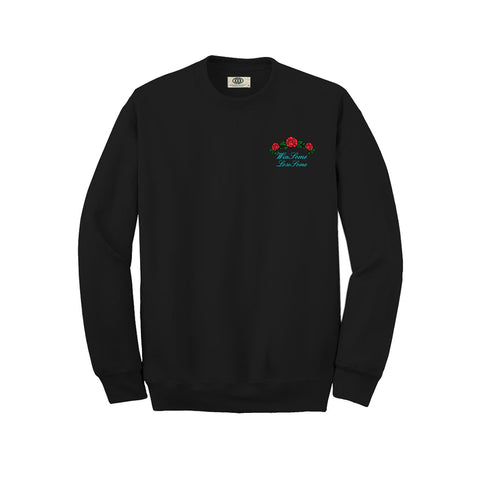 That Shit Cray - Rose Embroidery Crewneck - Black