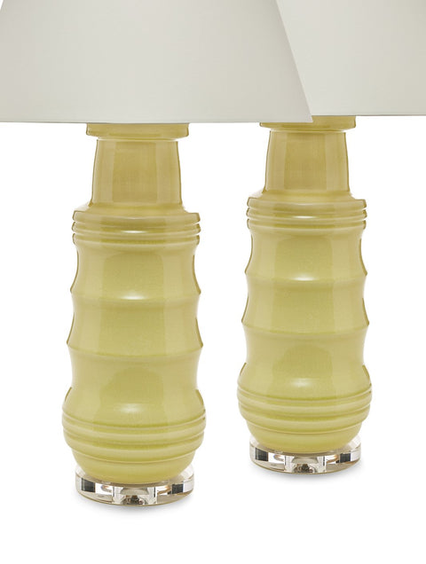 Pair of Porcelain Chinoiserie Bamboo Lamps