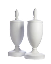 Pair Antique Architectural Finials White Painted