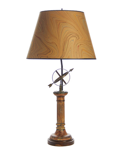 Armillary Marble and Brass Lamp with Marbled Bookmark Paper Lampshade