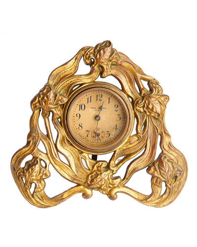 Art Nouveau Desk Clock New Haven Gilt