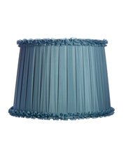 Box Pleated Azure Blue Silk Habutae with Pinking Ruffle