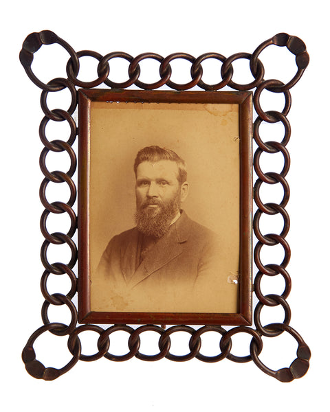 Brass Chain Link Portrait Frame Edwardian