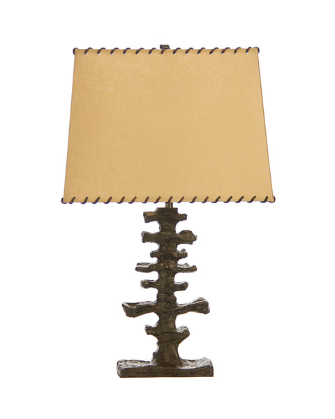 Bronze Artifact Lamp with Bone Linen Whipstitched Lampshade