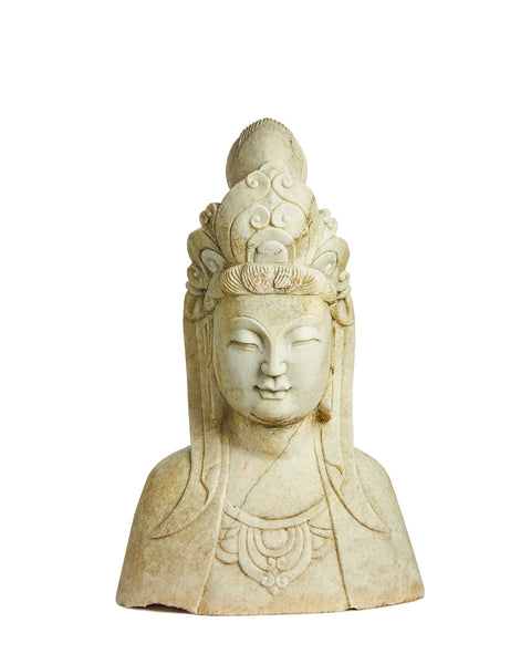 Impressive Carved Marble Buddha Bust