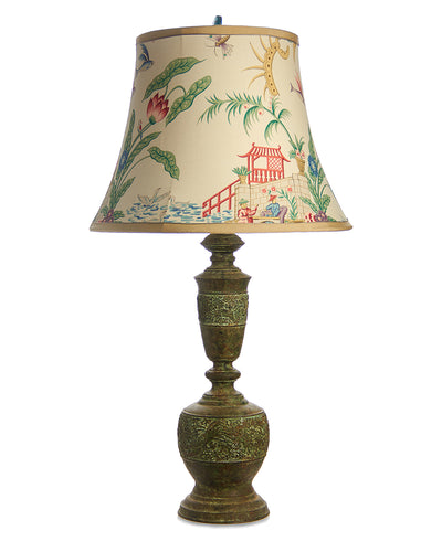 Chinese Bronze Lamp with Pagoda Lampshade