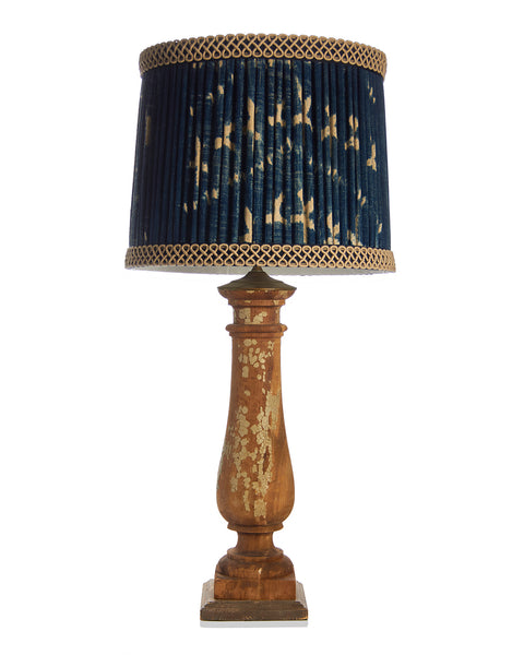 Pair Cottage Balustrade Lamps with Vintage Indigo Lampshades