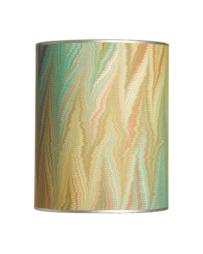 Drum Aqua Orange Pulled Paper with Silver Organza Liner Lampshade