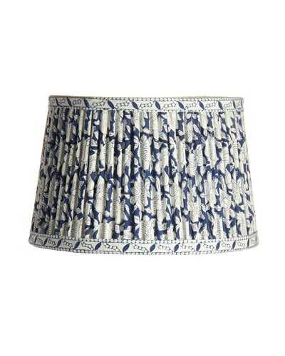 Drum Buffet Console Library with Ripple Pleat Indian Indigo Print Lampshade