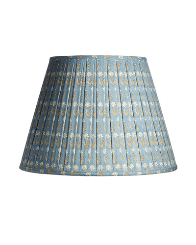 Empire Indian Light Blue Cotton Print Open Box Pleat Lampshade
