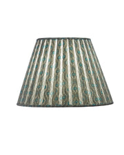 Empire Indian White & Blue Cotton Print Open Box Pleat Lampshade