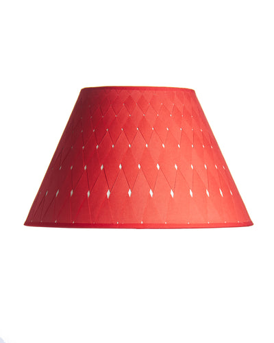 Empire Red Textured Paper Woven Cross Hatch Lampshade