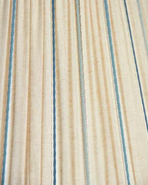 Empire Satin Accented Linen Blue, Teal and Silver Stripe