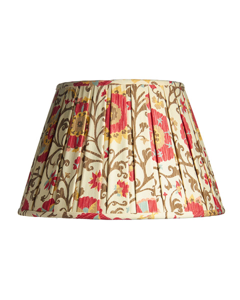 Empire Shirred Pleat Schumacher Red Brown Ivory Print Lampshade
