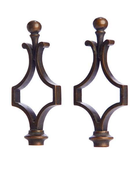 Pair Lamp Finials Pair Bronze