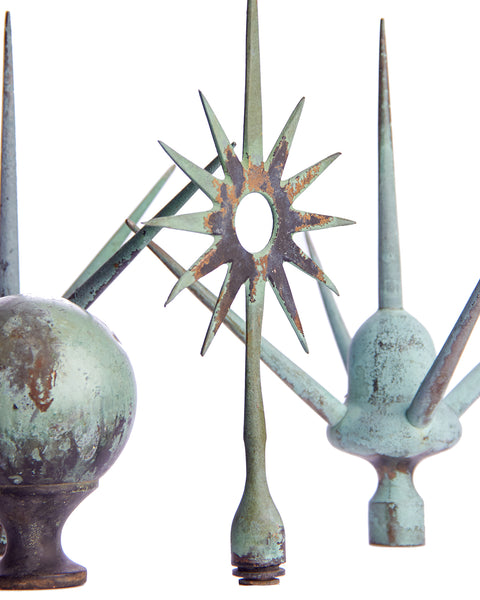 Folk Art Weathervane Finials, Set of 4