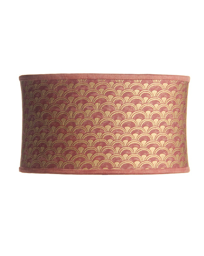 Stretched Oval Fortuny Papiro Wine and Gold Print Italian