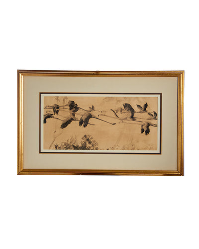 Framed Flying Flamingos James E. Allen