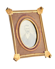 Original Tin Type Portrait Framed Handsome Mustache Victorian