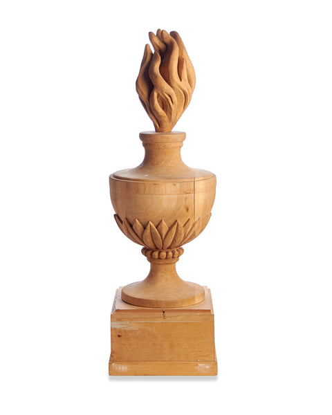 Hand Carved Antique Wood Urn with Flame