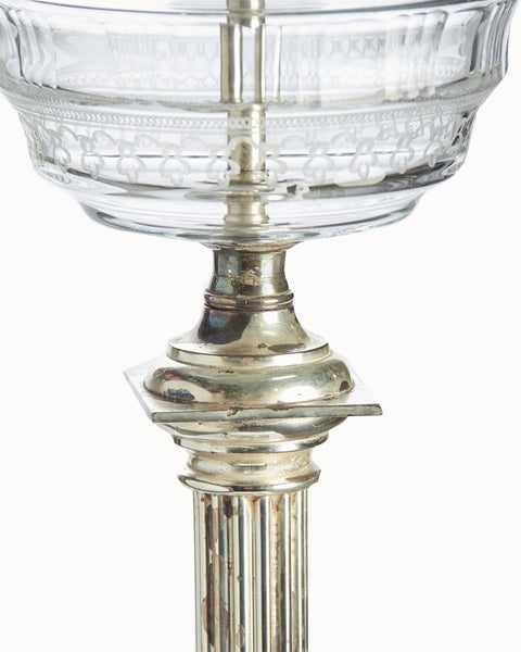 Tall Neoclassical Electrified Silver Plated Column-Form Oil Lamp