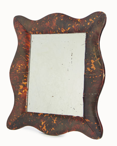 Victorian Tortoiseshell Scalloped Mirror Looking Glass