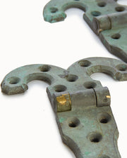 Pair Bronze Hinges Heavy and Well Made Perfect Patina