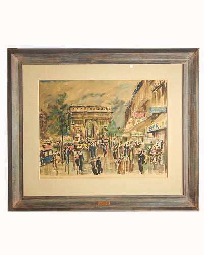 Vintage Framed Watercolor of Paris Arc de Triomphe Guy De Neyrac