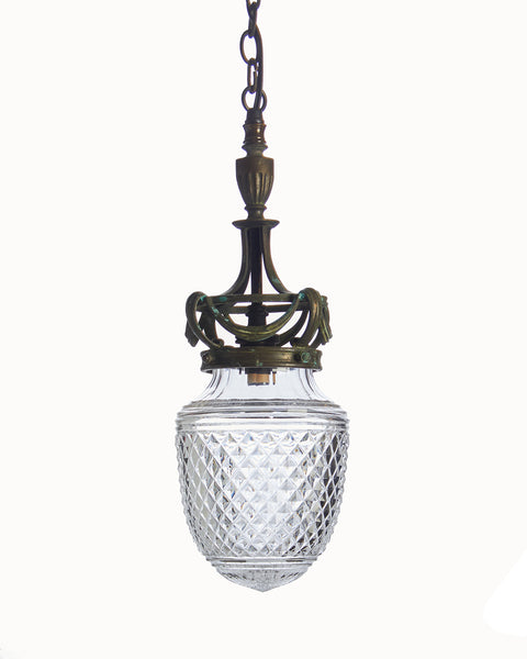 Stunning Antique Edwardian Cut Glass And Brass Bronze Ceiling Light