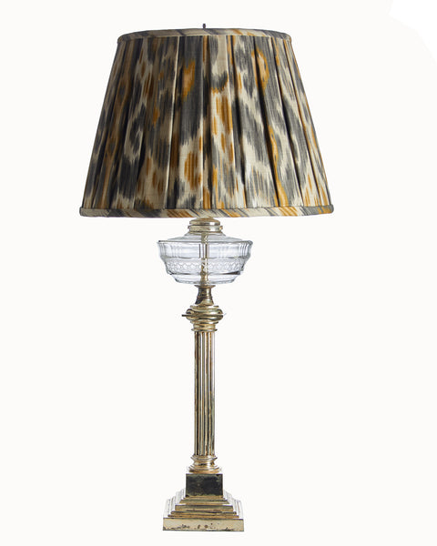 Empire Open Box Pleat Kravet Gray Gold Ivory Ikat Lampshade