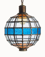 Pendant Globe Leaded Glass with Blue and Orange Pressed Decorated Glass