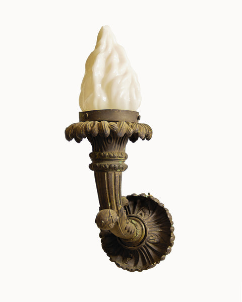 Bronze Neo-Classical Wall Torch with Flame Glass Shade