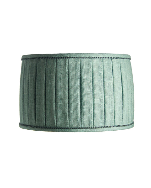 Nicky Blues Wide Box Pleated Boca Blue Burlap Lampshade