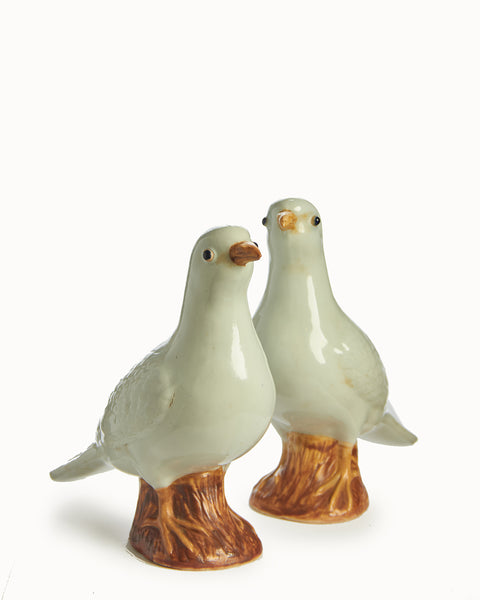 Pair of Japanese Porcelain White Winged Dove Roof Ornaments - Life Size