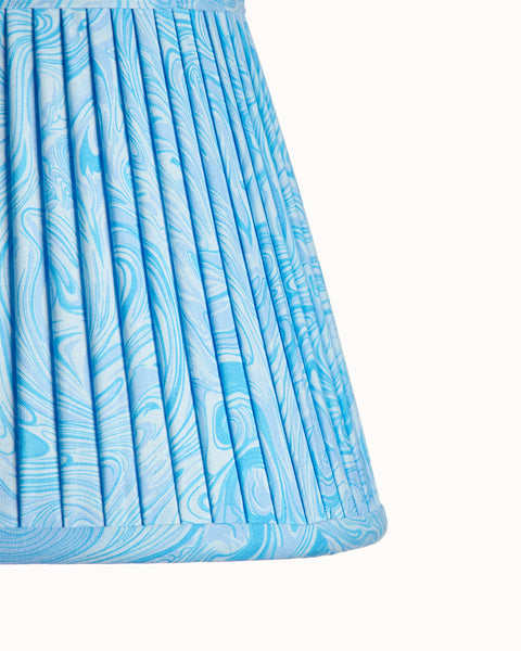 Empire Light Blue Marble Pleated Lampshade