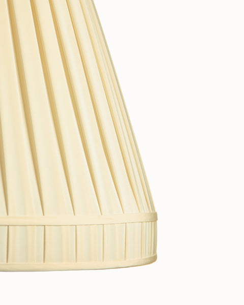 Cuffed Empire Open Box Pleat Ivory Charmeuse Lampshade