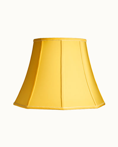 Stretched Yellow Charmeuse Octagon Bell with Cambridge Cord Lampshade