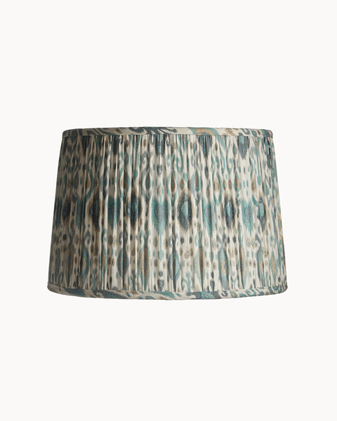 Drum Ikat Blue, White and Gold Ripple Pleat Lampshade Couture
