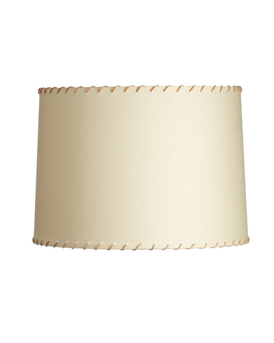 Illume's Ivory Linen Drums with Light Brown Leather Whipstitching