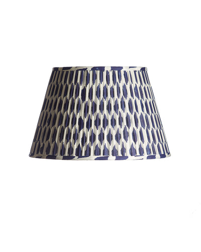 British Empire Ikat Blue, White Ripple Pleat Lampshade Couture